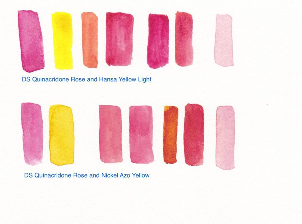 watercolor swatches making red paint