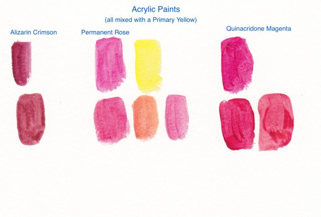 acrylic paint swatches mixing red paint