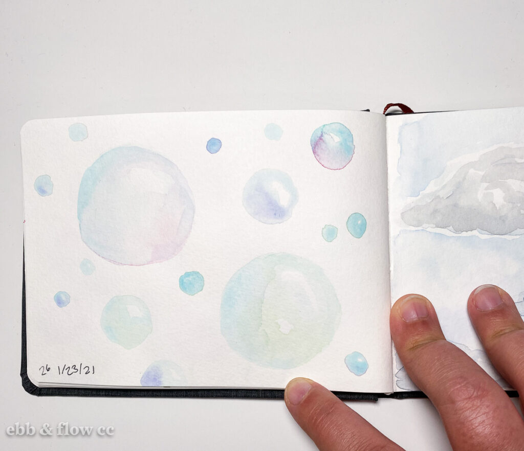 watercolor painting of bubbles