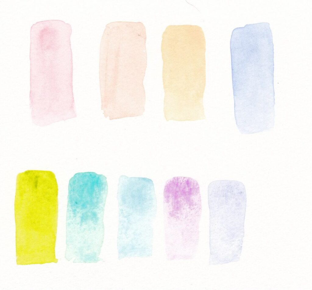 pastel watercolor swatches