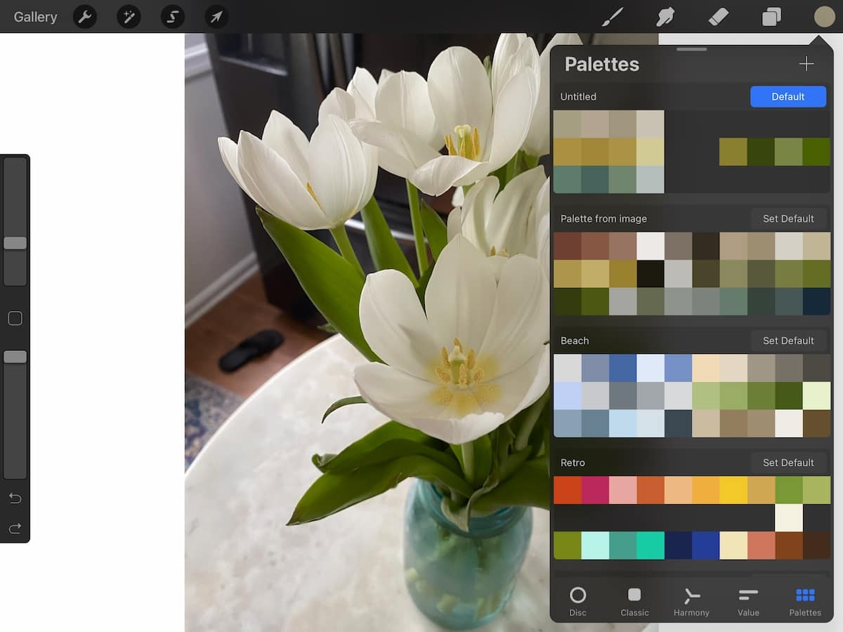 color palette from vase of tulips