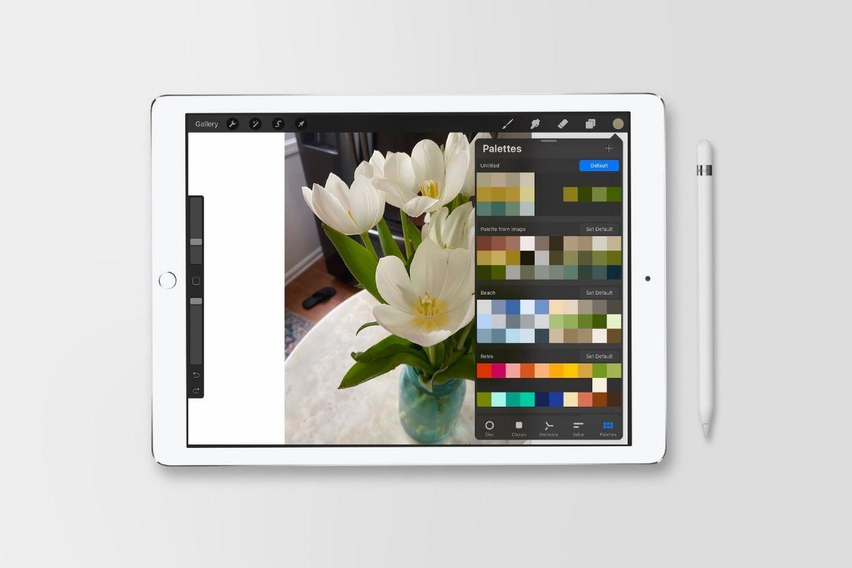 ipad with photo of tulips in vase