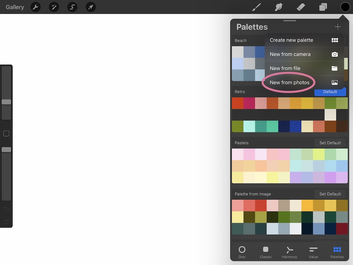 creating new color palette in procreate