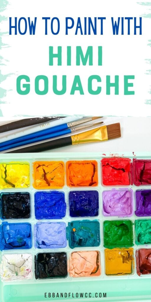 gouache set and paintbrushes