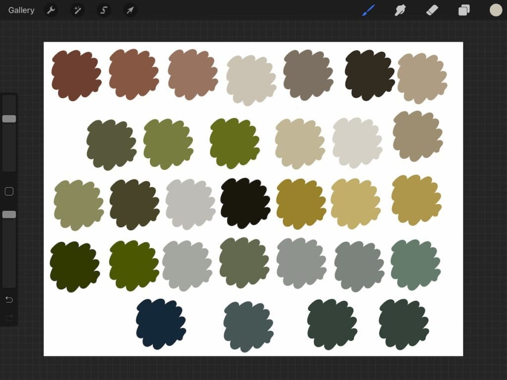 screenshot of color swatches