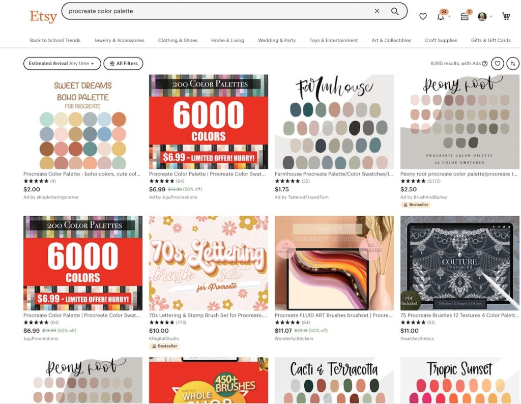screenshot of etsy search for procreate palette