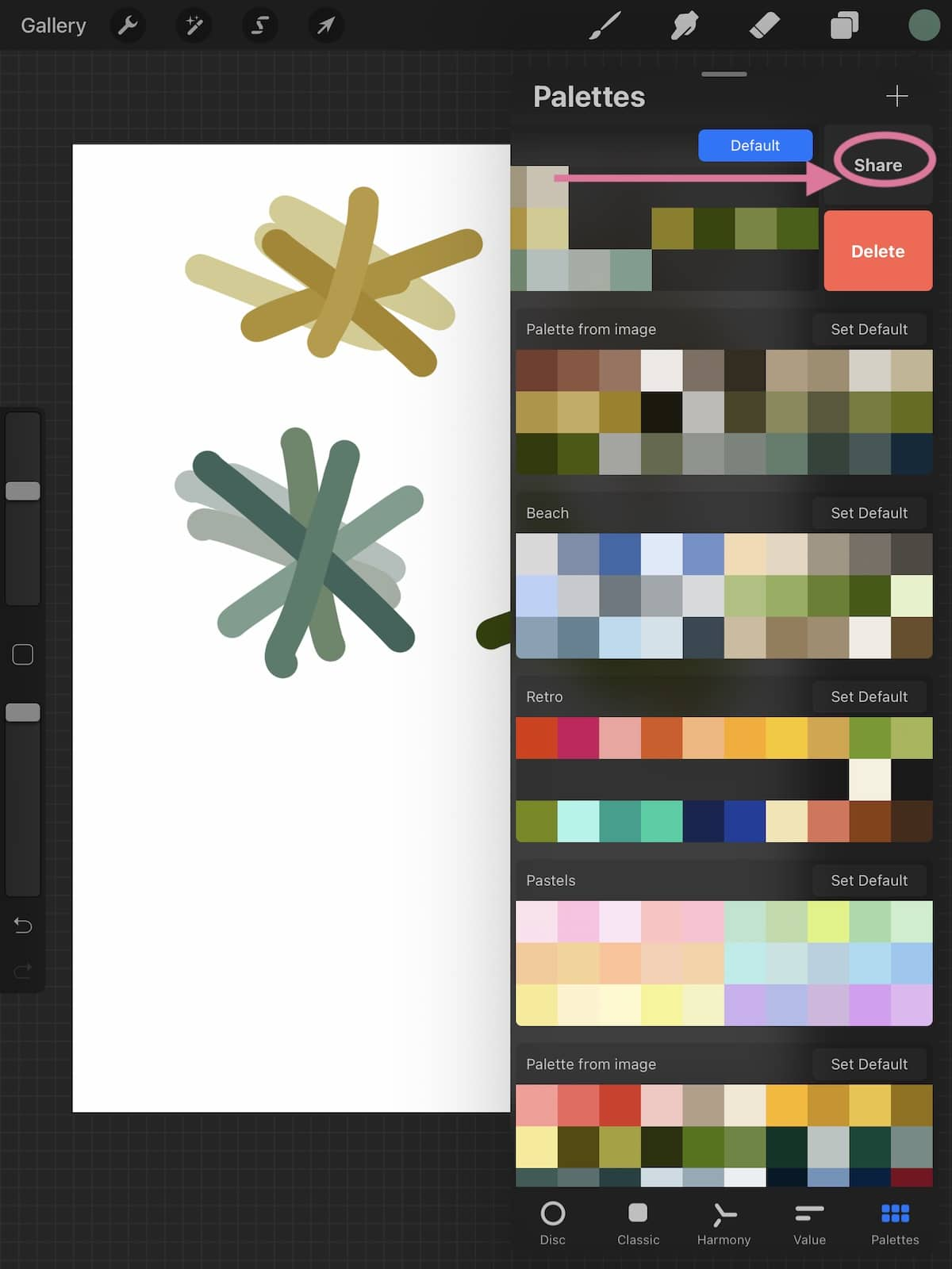 sharing options in procreate