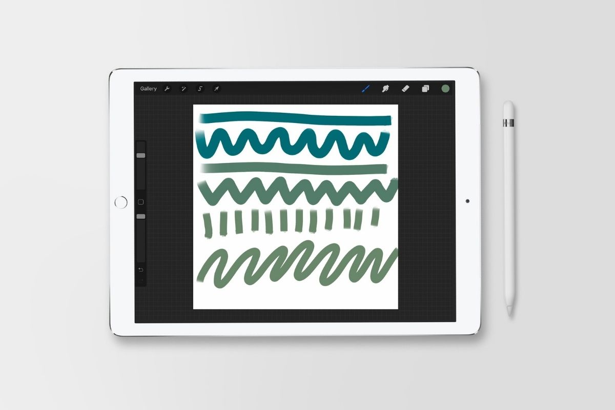ipad with lines drawn on it