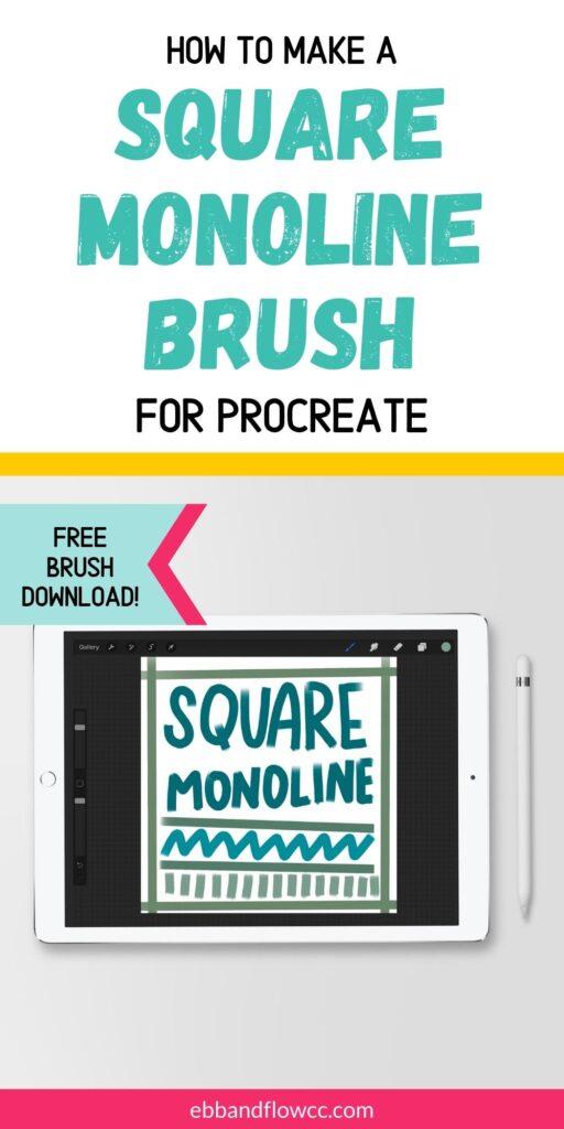 ipad with square monoline brush drawn in Procreate