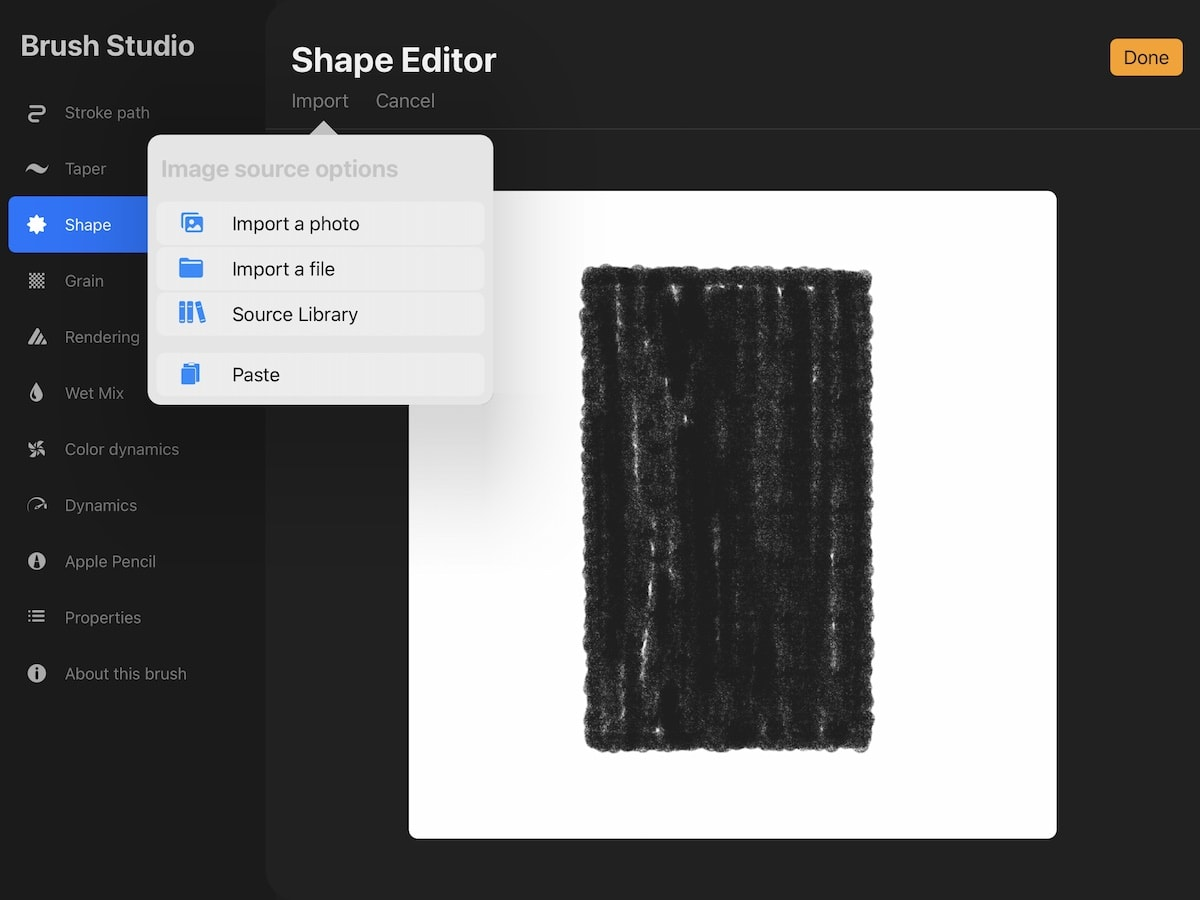 pasting shape source in procreate brushes