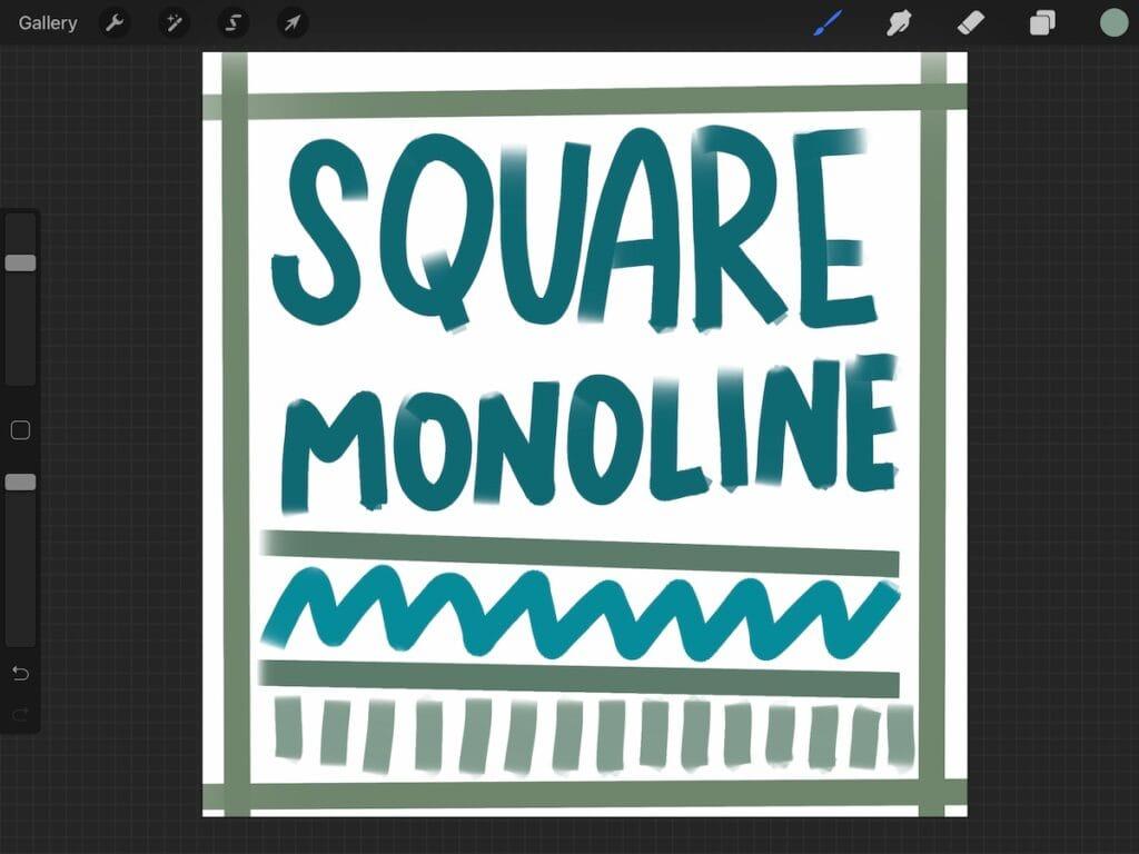 screenshot of Procreate using square monoline brush