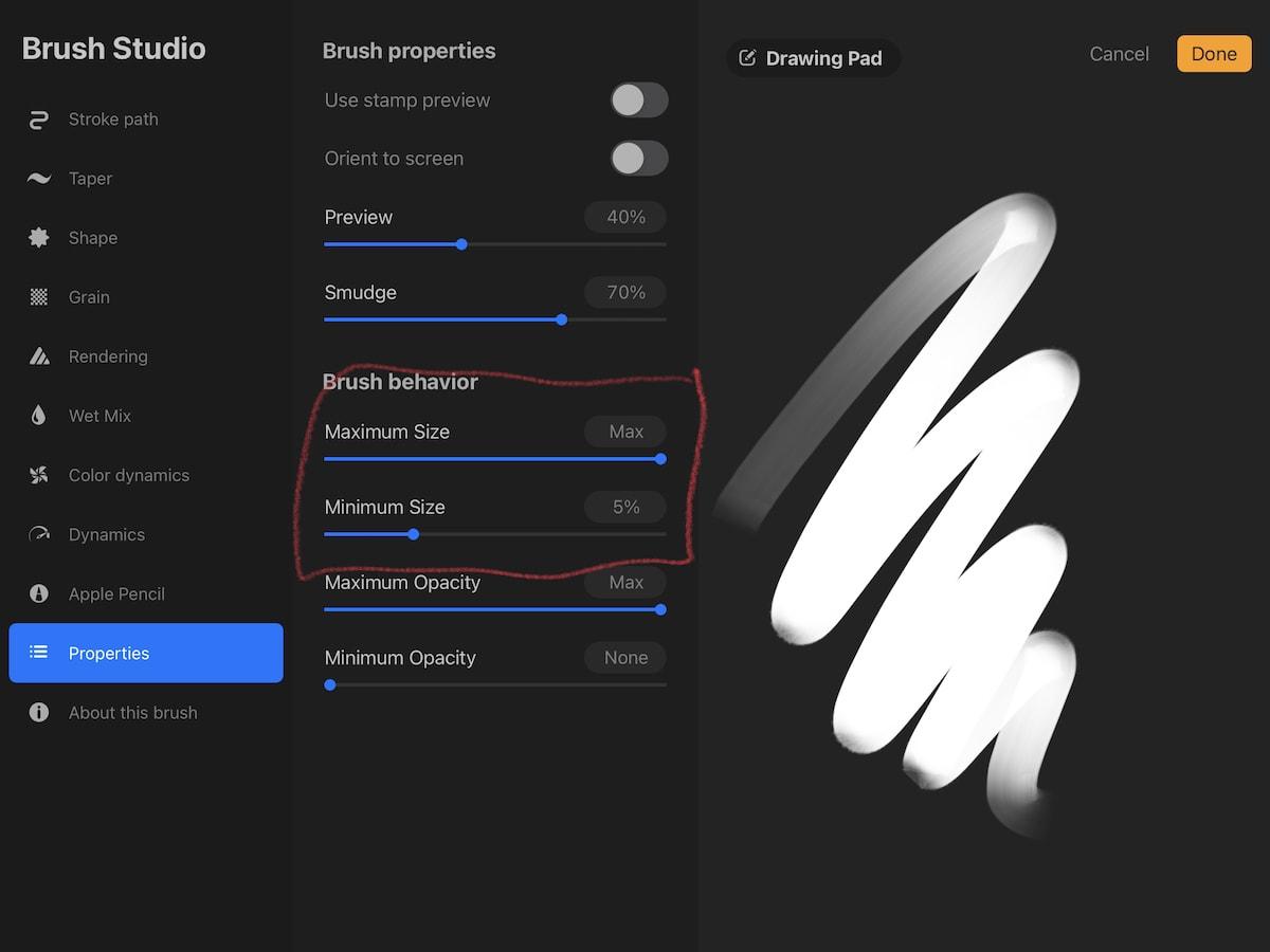 procreate brush settings