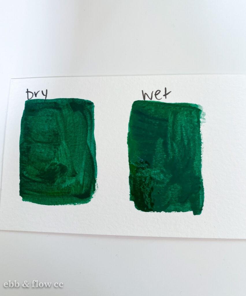 dry vs wet gouache colors