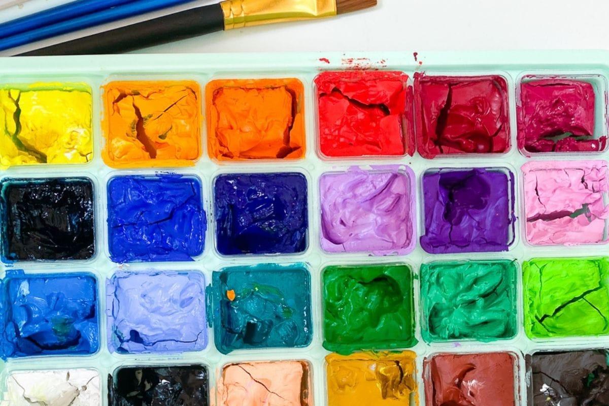 close up of gouache paint set