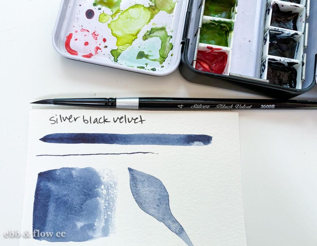 silver black velvet brush swatches