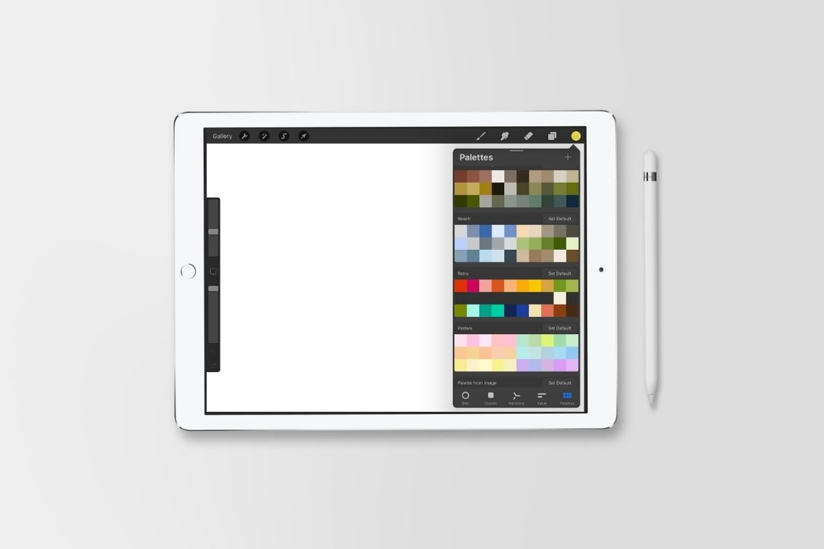 color swatches in Procreate on iPad