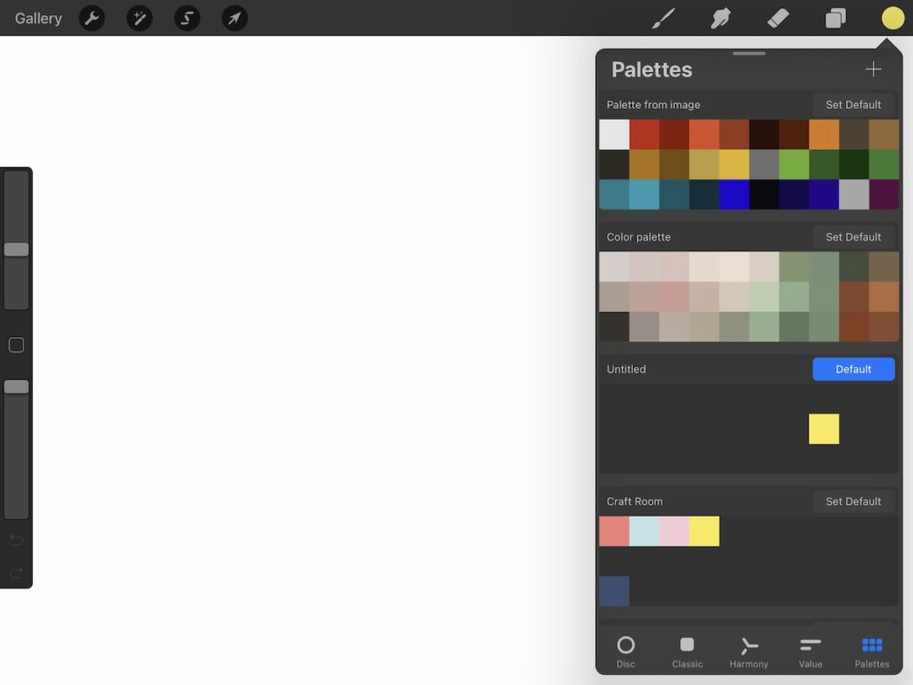 color palettes screenshot