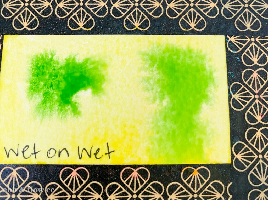 green paint on yellow paint (wet-on-wet technique)