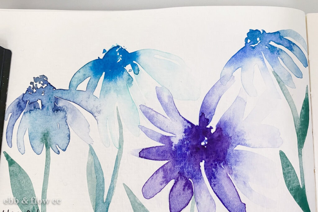 floral painting using wet-on-wet technique