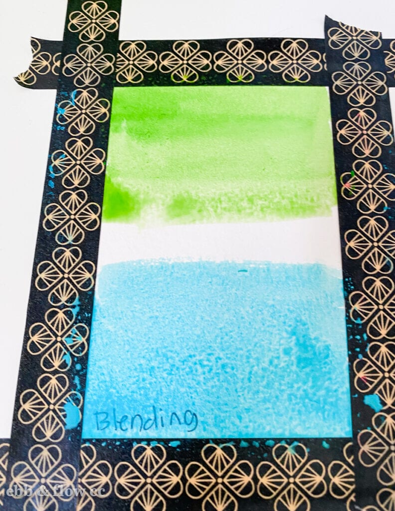 blending green and aqua watercolor paint