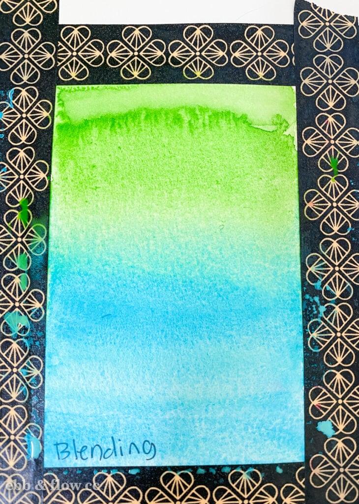 blending green and aqua watercolor paints
