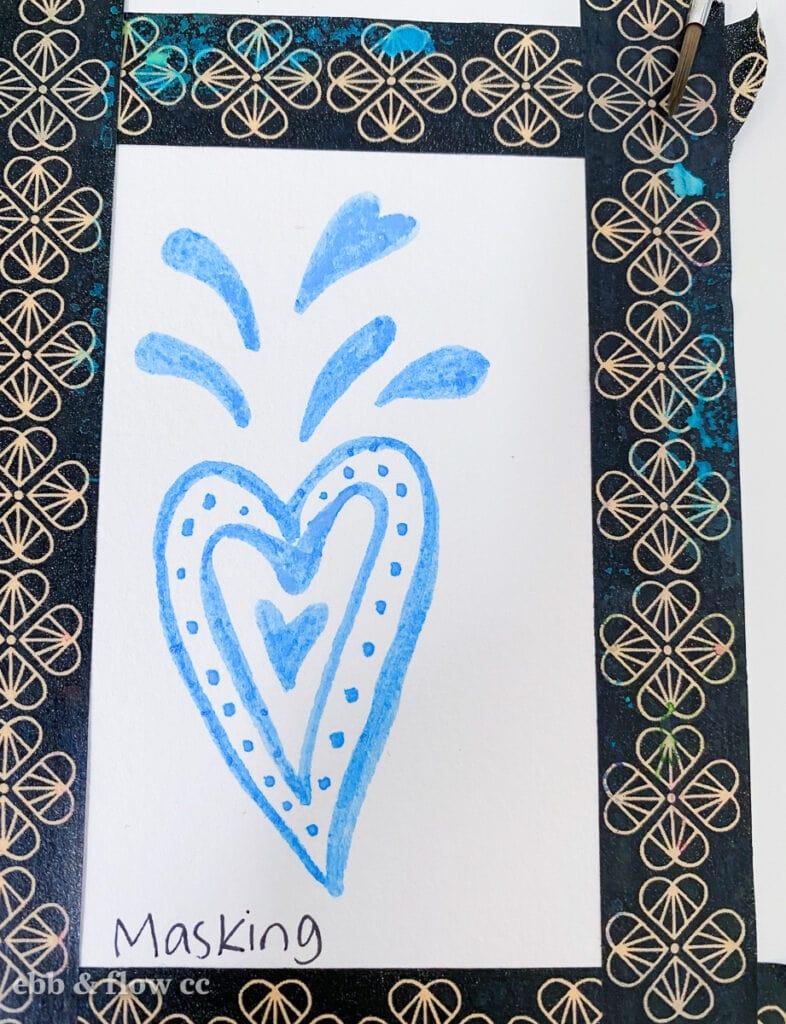 using masking fluid for heart doodle
