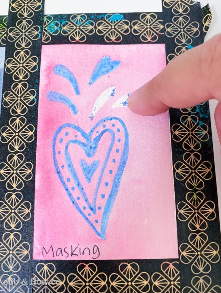 removing masking fluid on heart doodle