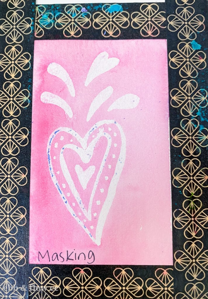heart doodle created with masking fluid