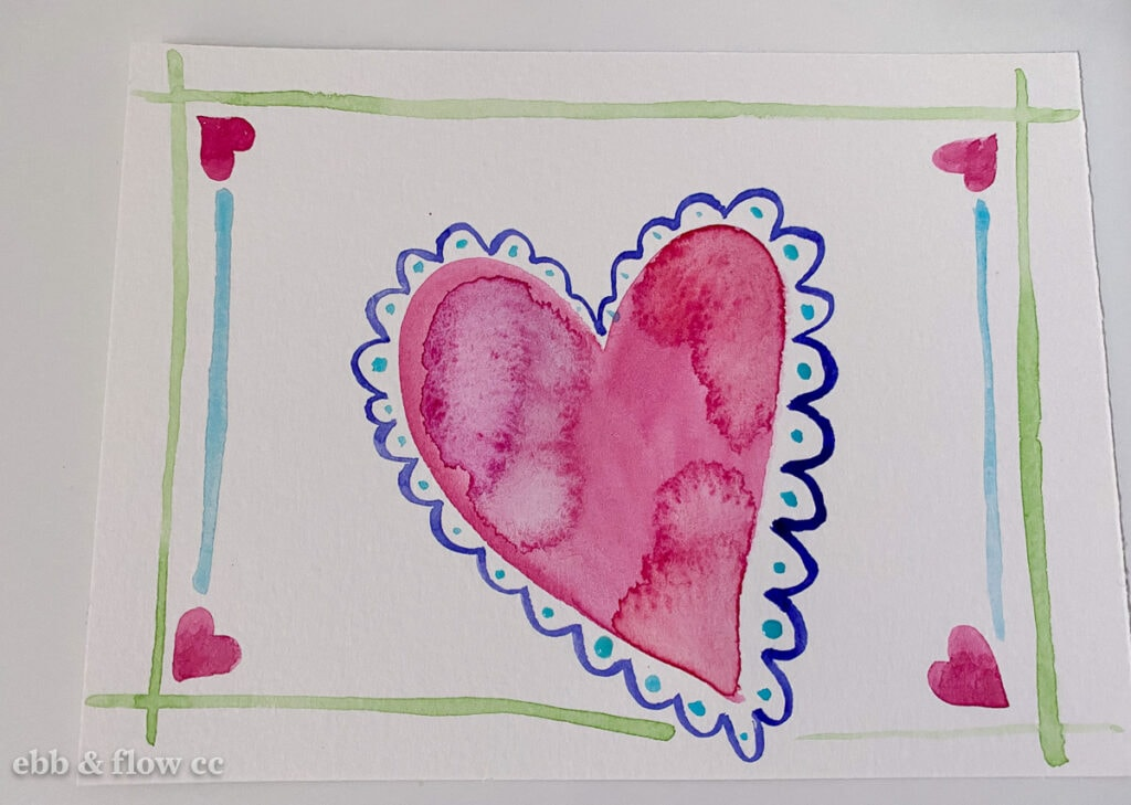 heart doodle in watercolor paint